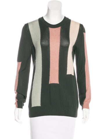 Tory Burch Long Sleeve Color Block Sweater None