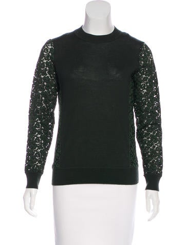 Tory Burch Lace-Trimmed Wool Sweater None