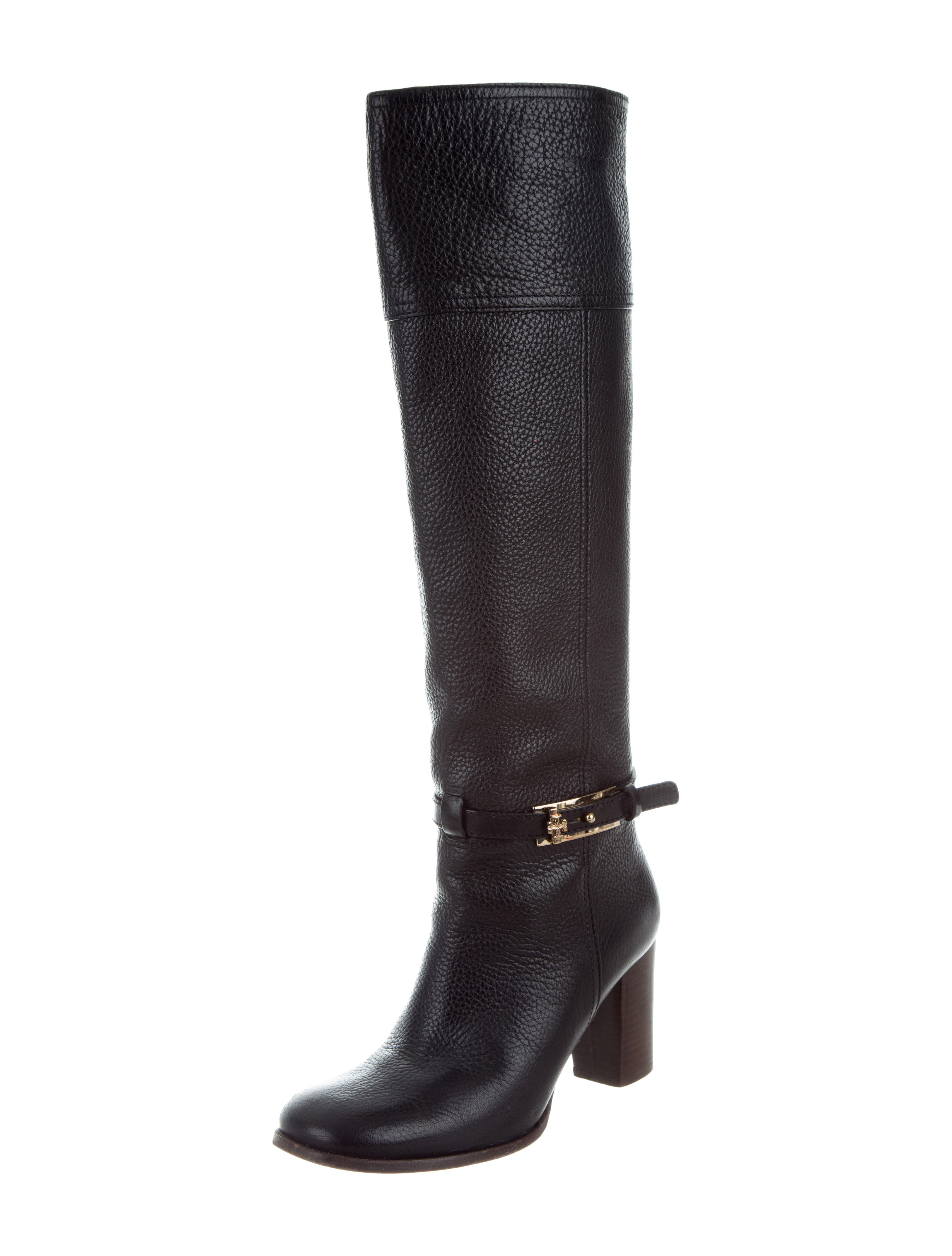 Tory Burch Leather Logo Knee-High Booots sale comfortable cheap good selling outlet cheap quality ddDMtHeMA