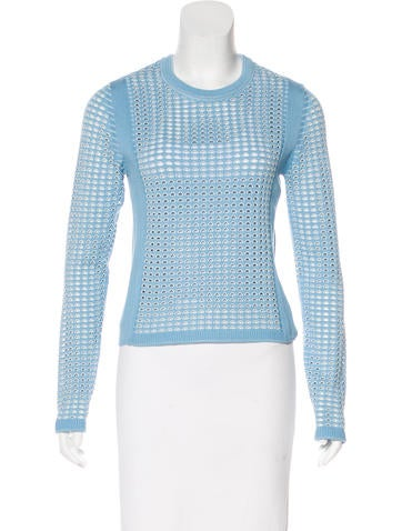 Tory Burch Mesh-Trimmed Long Sleeve Top None