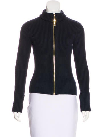 Tory Burch Wool Zip-Up Cardigan None