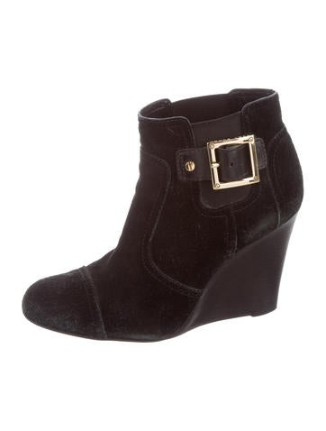 Tory Burch Suede Wedge Ankle Boots None