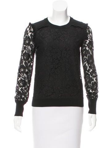 Tory Burch Lace-Paneled Wool Sweater None