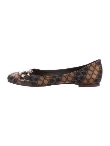 Tory Burch Printed Round-Toe Ballet Flats None