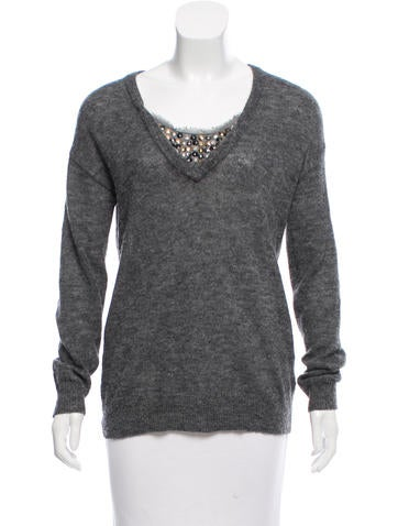 Tory Burch Embellished Knit Sweater None