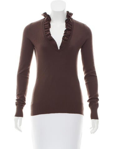 Tory Burch Ruffled Wool Sweater None