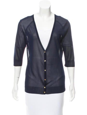 Tory Burch Short-Sleeve Rib Knit-Trimmed Cardigan None