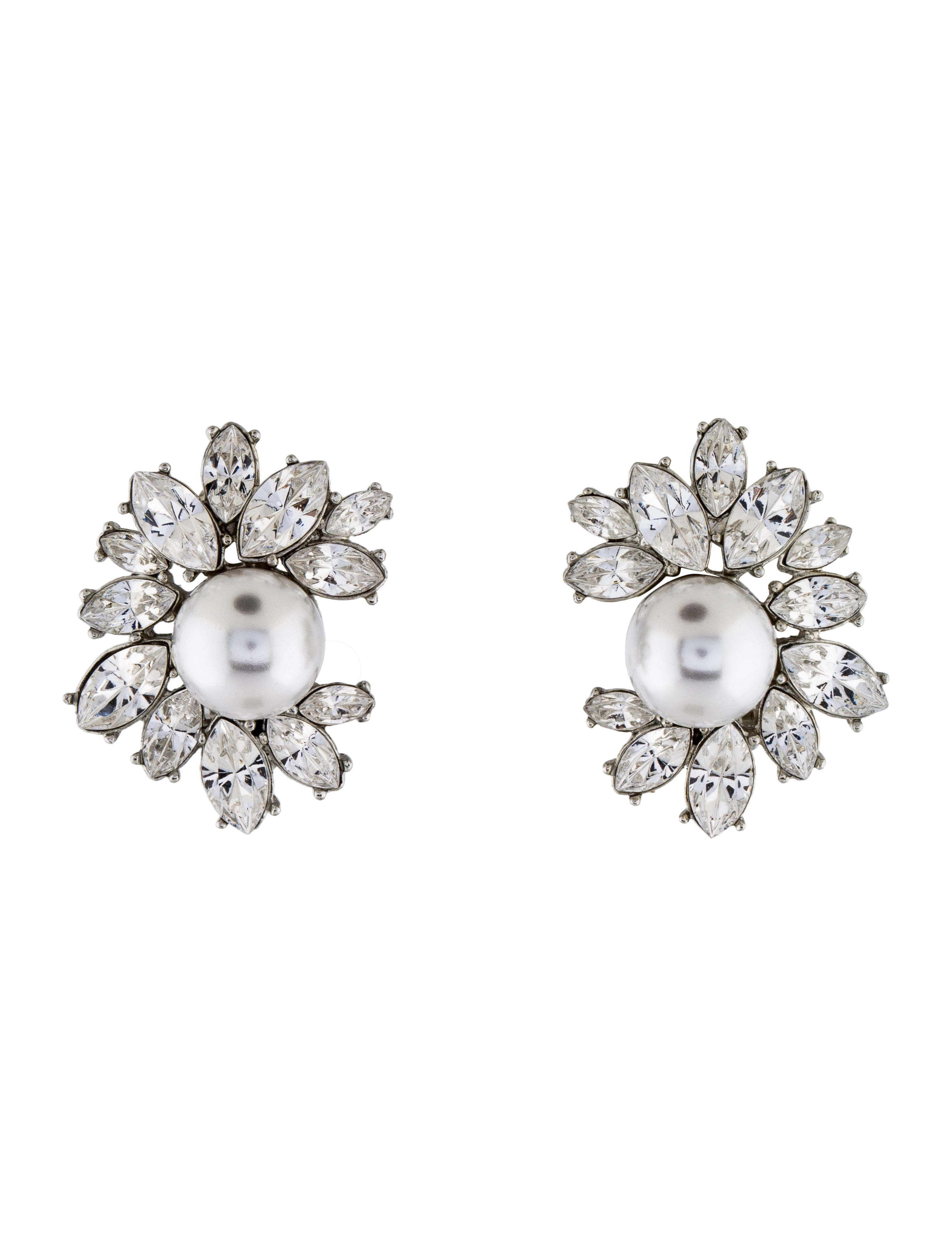 Kenneth Jay Lane Crystal Top With Pearl Bottom Earrings Crystal/white pearl kUO92vdQuy