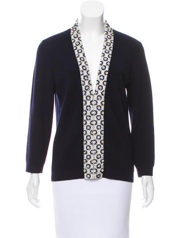 Tory Burch Embellished Wool Cardigan None