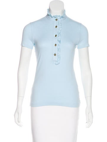 Tory Burch Ruffle-Trimmed Short Sleeve Top None