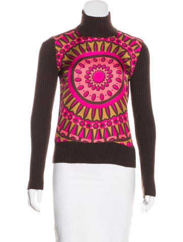 Tory Burch Silk & Cashmere Long Sleeve Top None