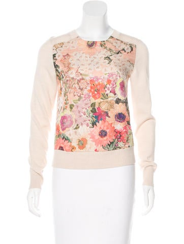 Tory Burch Floral Print Wool Sweater w/ Tags None