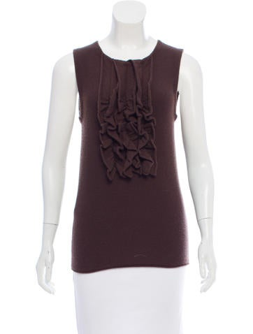 Tory Burch Ruffle Trimmed Cashmere Top None