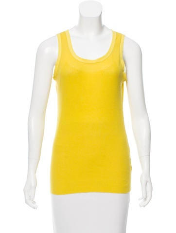 Tory Burch Sleeveless Ribbed Knit Top None