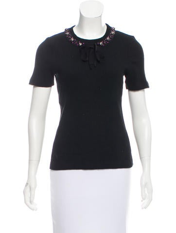 Tory Burch Embellished Short Sleeve Top None