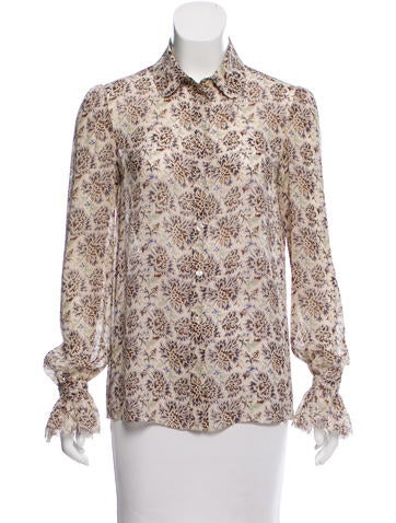 Tory Burch Printed Button-Up Top None