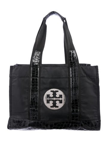 Tory Burch Emboossed Leather-Trimmed Nylon Tote None