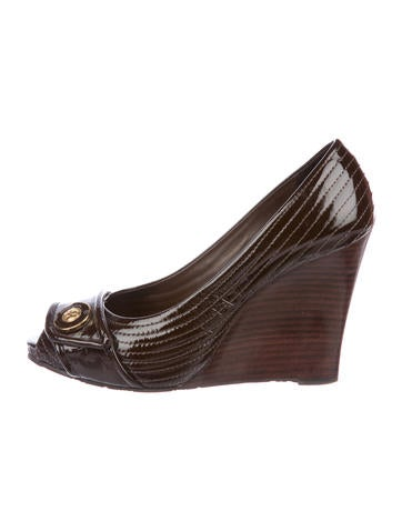 Tory Burch Patent Leather Peep-Toe Wedges None