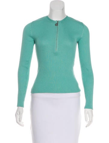 Tory Burch Cashmere Rib Knit Top None