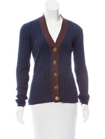 Tory Burch Rib Knit Button-Up Cardigan None