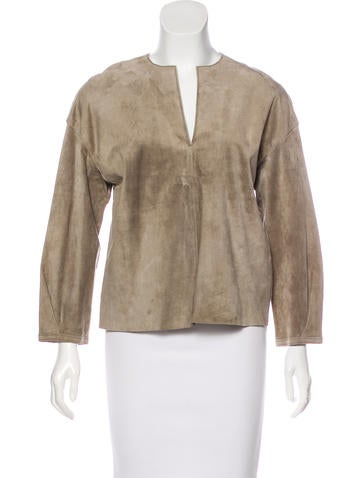 Tory Burch Long Sleeve Suede Top None