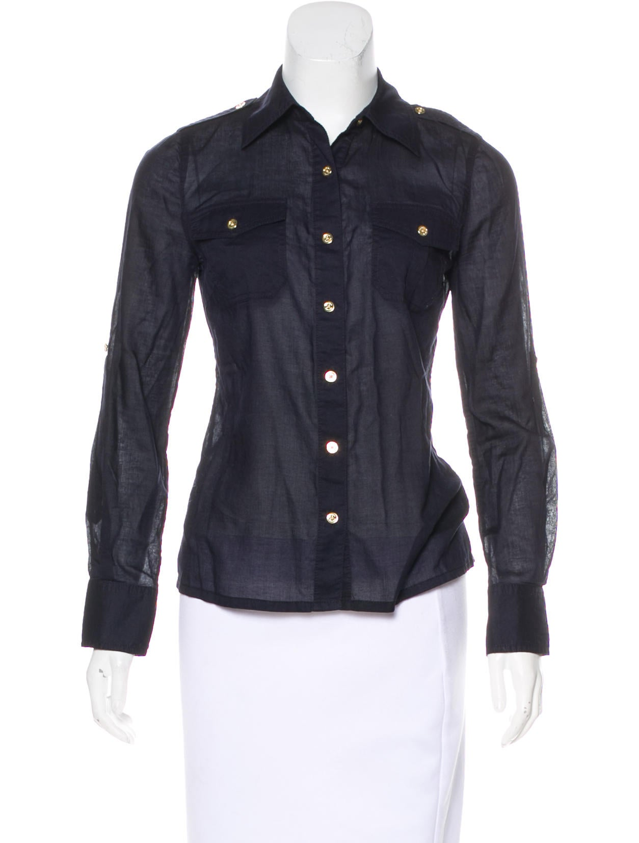 With Credit Card Cheap Price Tory Burch Long Sleeve Button-Up Top Discount Pre Order Sast Cheap Price UeHDkt