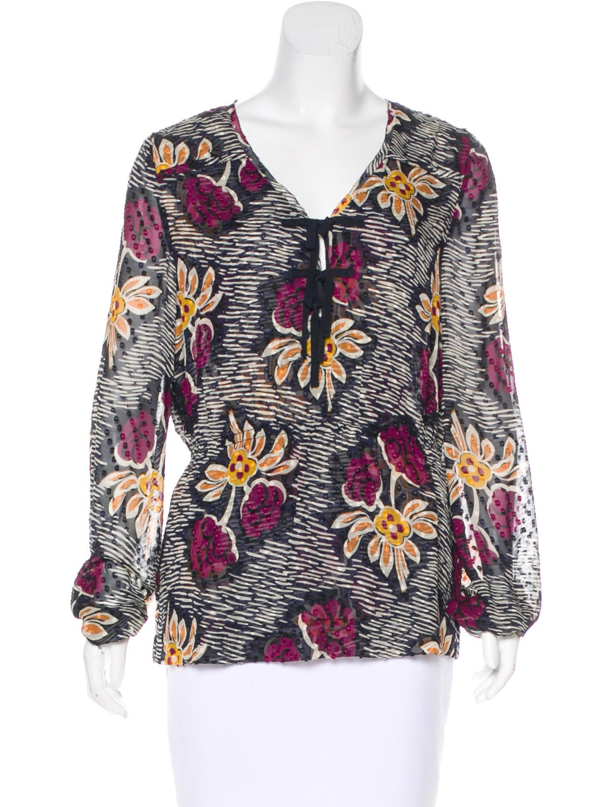 be8642a92893 Tory Burch Floral Silk Blouse - Clothing - WTO123695