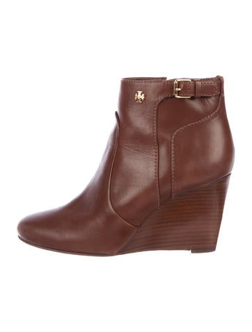 Tory Burch Milan Leather Wedge Boots None