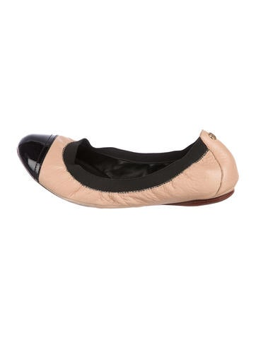 Tory Burch Leather Cap-Toe Flats None