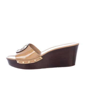 Tory Burch Patent Leather Logo Sandals None