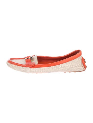 Tory Burch Logo Round-Toe Loafers None