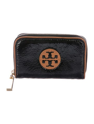 Tory Burch Patent Leather Logo Zip Pouch None