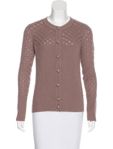 Tory Burch Wool Cable Knit Cardigan None