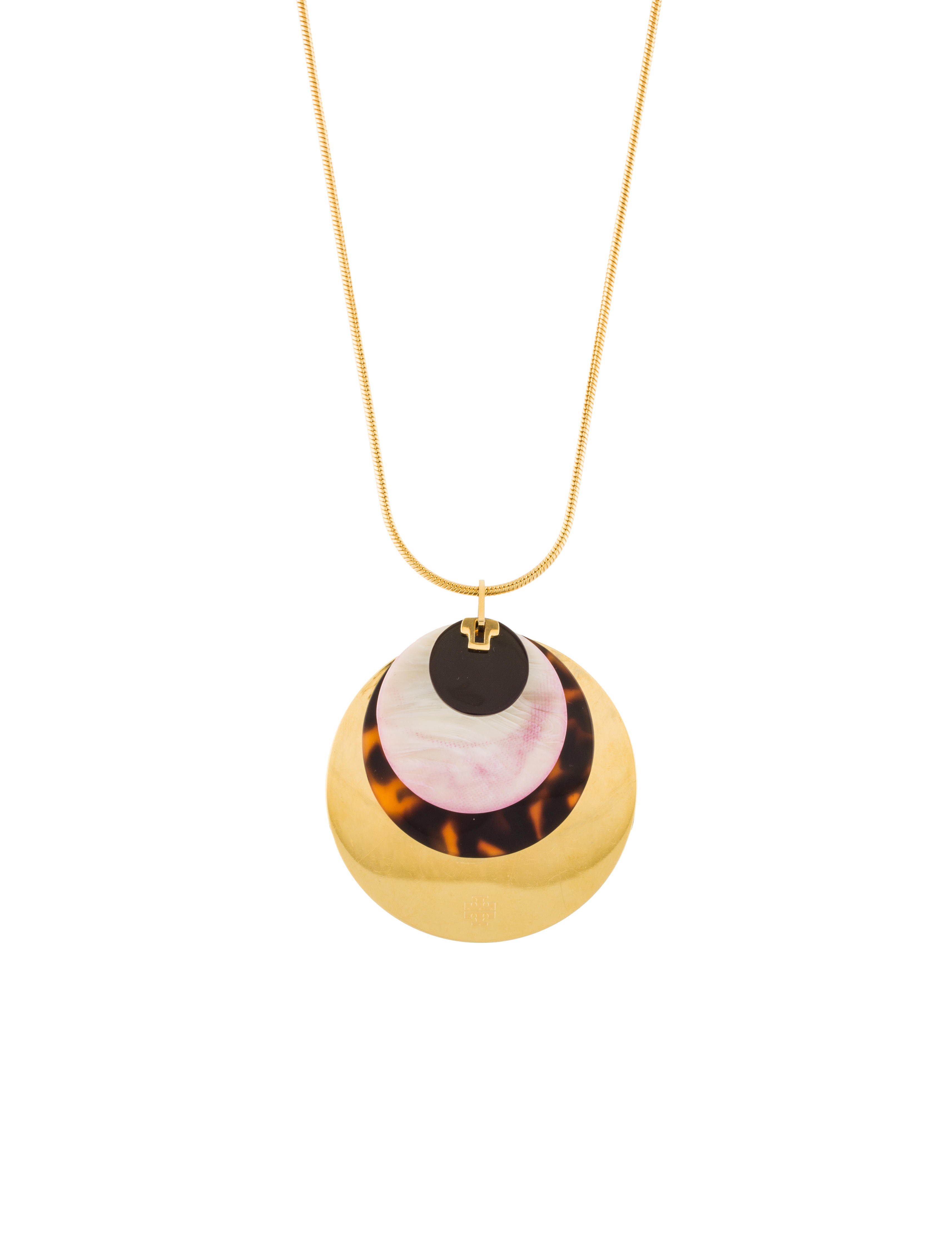 Tory burch layered disc pendant necklace necklaces wto125400 layered disc pendant necklace aloadofball Image collections