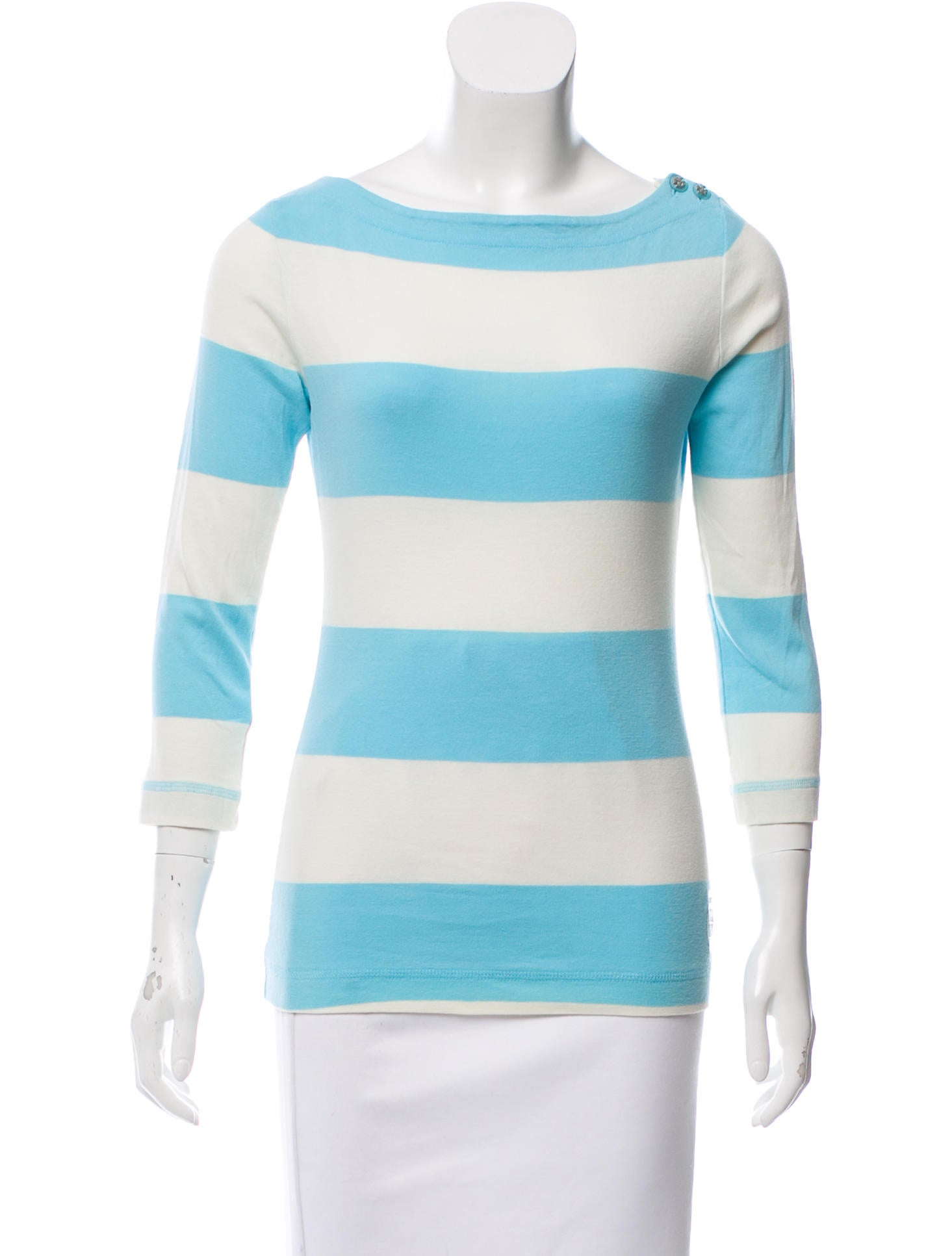 Clearance Store Sale Online Tory Burch Striped Bateau Neck Top Free Shipping 100% Authentic KaaKy