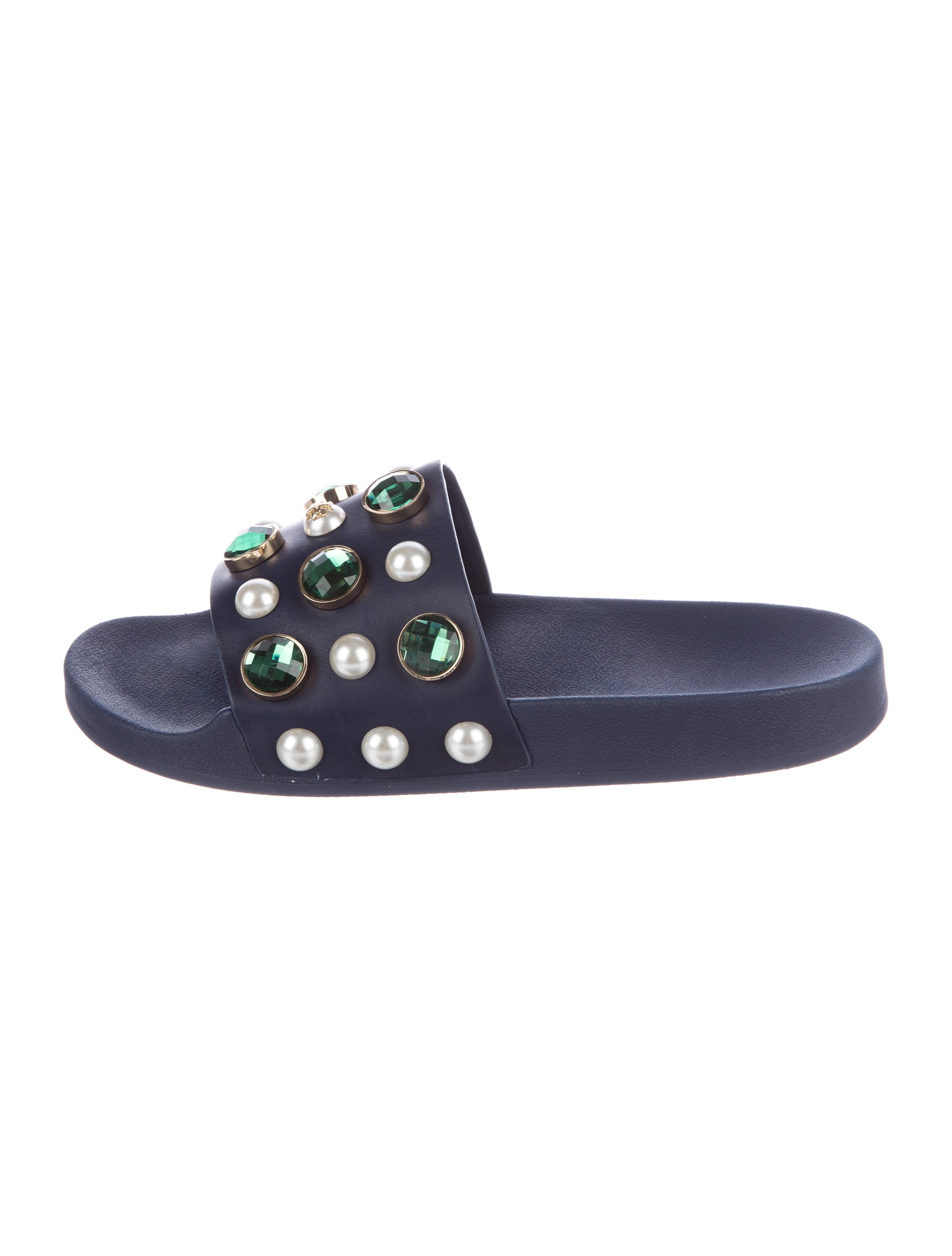 Tory Burch Woman Crystal And Faux Pearl-embellished Leather Slides Navy Size 6 Tory Burch Cheap Choice Unisex Big Sale Outlet Store Online Supply Cheap Online vXp5yd73