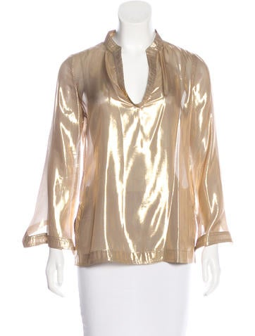 Tory Burch Silk Metallic Top None