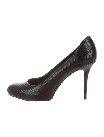 Tory Burch Embossed Leather Rounded-Toe Pumps None