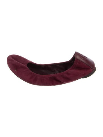 Tory Burch Suede Round-Toe Flats None