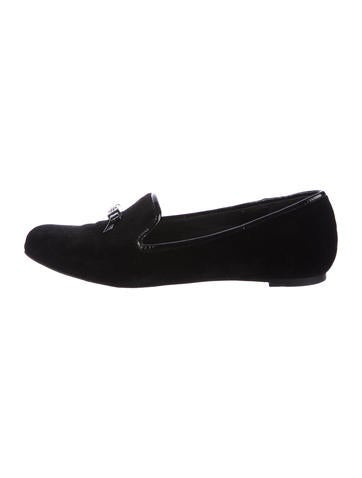 Tory Burch Velvet Round-Toe Loafers None