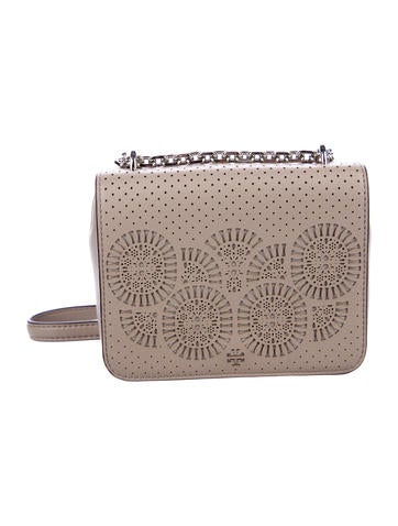 Tory Burch Cut-Out Leather Flap Bag None