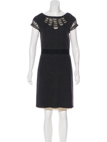 Tory Burch Sequined Wool Sheath Dress None
