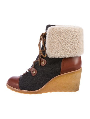 Tory Burch Lace-Up Shearling Booties None