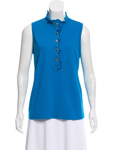 Tory Burch Sleeveless Mock Neck Top None