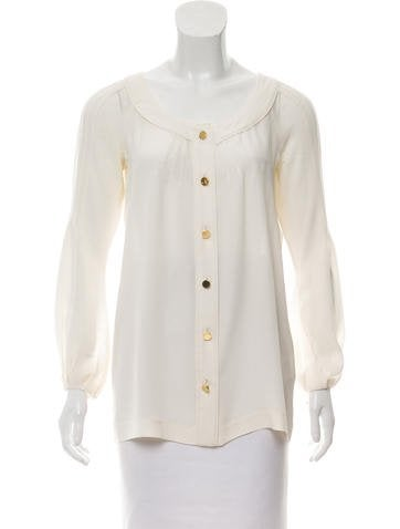 Tory Burch Silk Button-Up top None