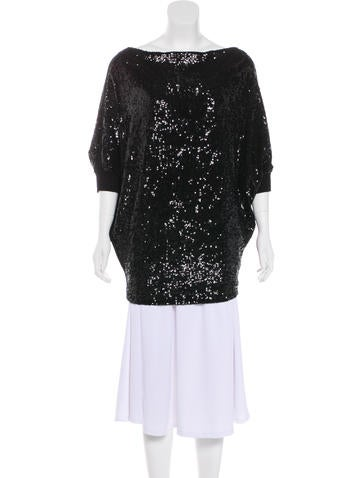 Tory Burch Sequined Batwing Top None
