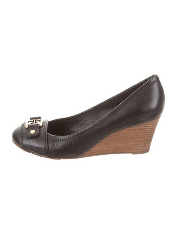 Tory Burch Logo Leather Wedges None