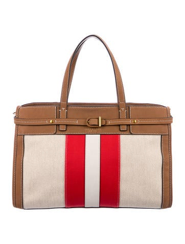17e2f50596e Product Name Tory Burch Striped Canvas   Suede Tote.  183.75. Product   Product Code 5734409. Size  Long Sleeve Linen Dress w  Tags