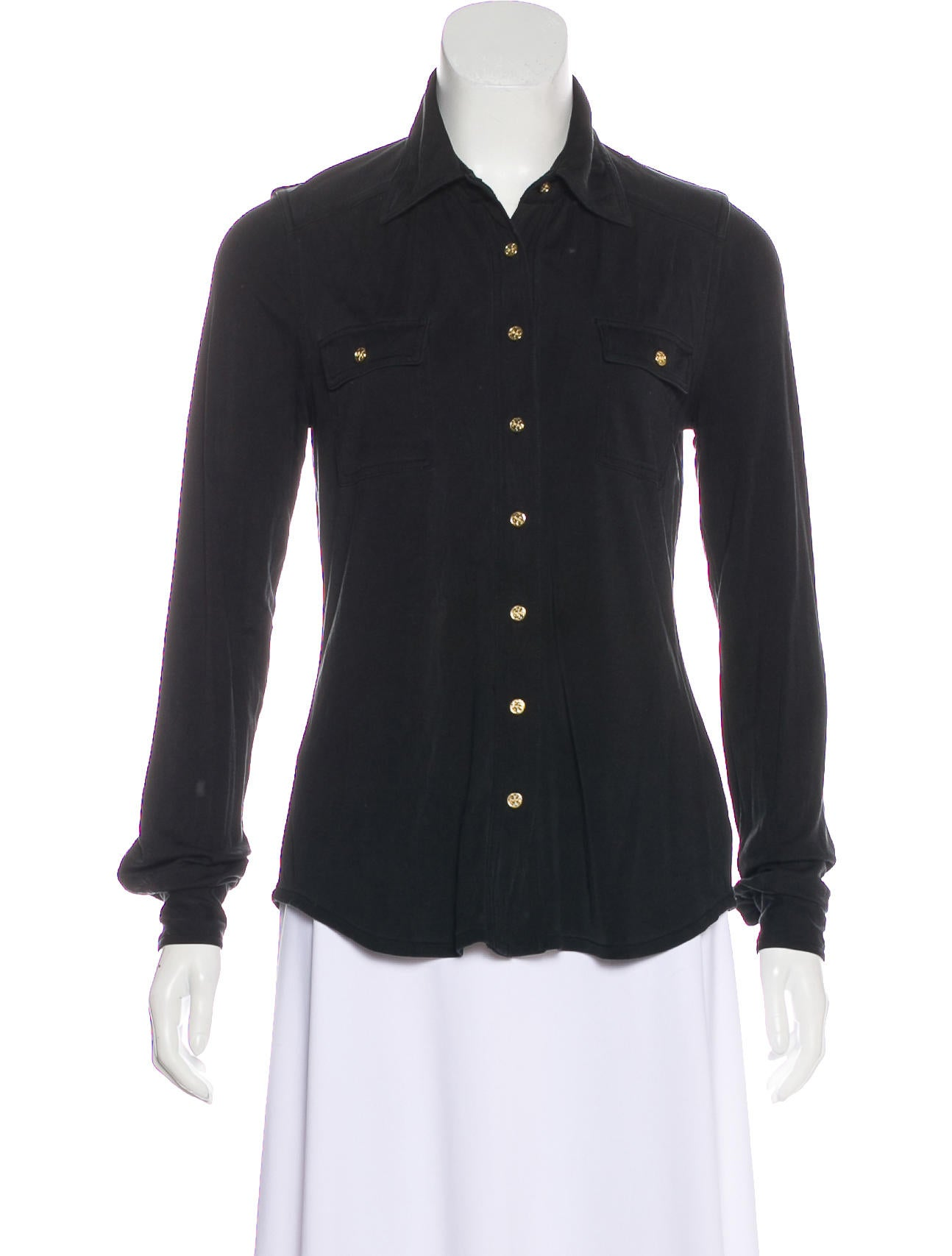 Tory Burch Silk Button-Up Top Buy Cheap Price Clearance Visa Payment Outlet Brand New Unisex Find Great Sale Online J13Or09Wj5