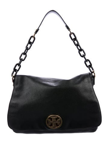 Tory Burch Grained Leather Chain-Link Shoulder Bag None